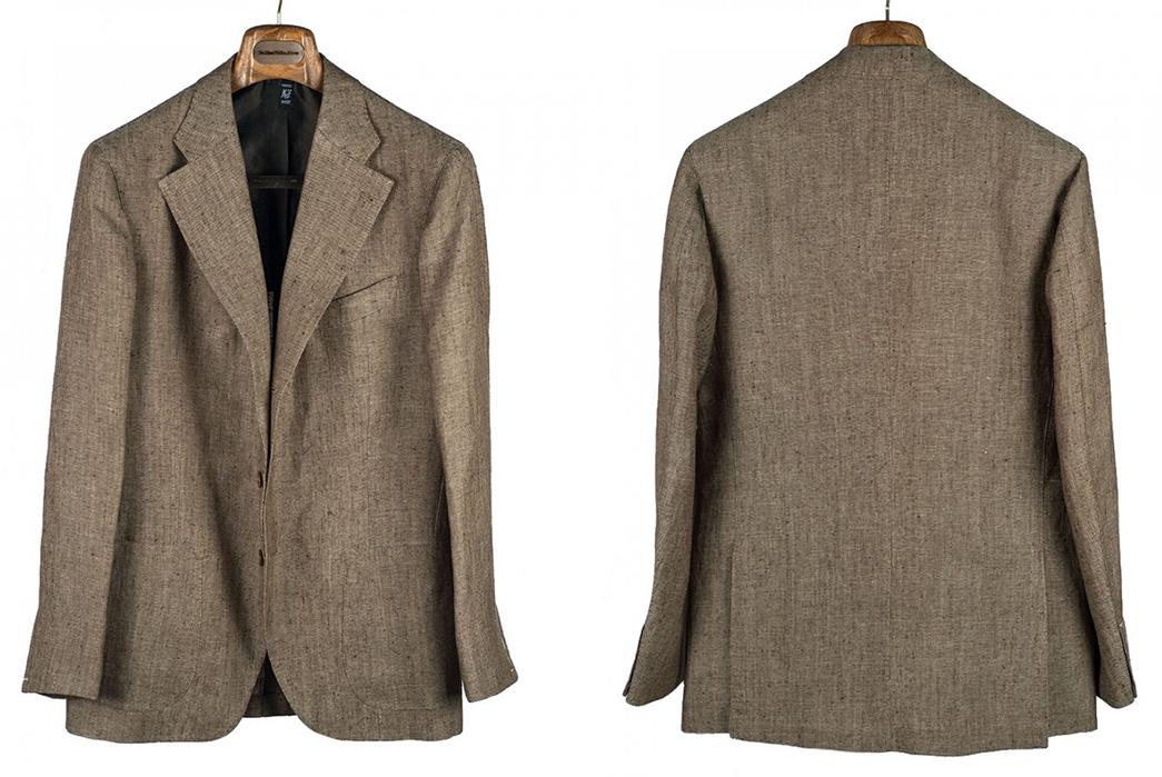 Linen-Blazers---Five-Plus-One-1)-Corridor-NYC-Ticking-Stripe-Linen-Blazer-4)-Sartoria-Formosa-Light-Brown-Summer-Tweed-Sport-Coat