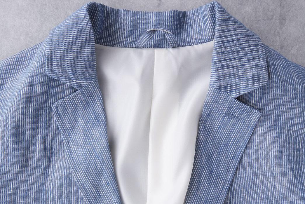 Linen-Blazers---Five-Plus-One-1)-Corridor-NYC-Ticking-Stripe-Linen-Blazer-collar