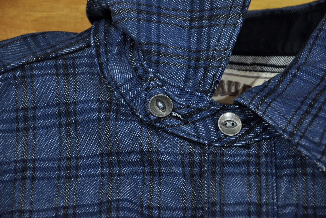 Samurai-12oz.-Ultra-Heavy-Indigo-Selvedge-Jacquard-Chambray-Shirt-front-top-collar-pockets