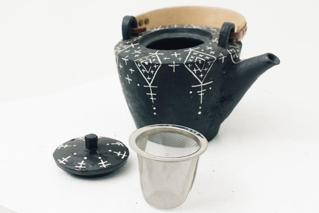 Centerpiece-Teapots---Five-Plus-One-Plus-One---Ayame-Bullock-Black-Mudcloth-Teapot-detailed