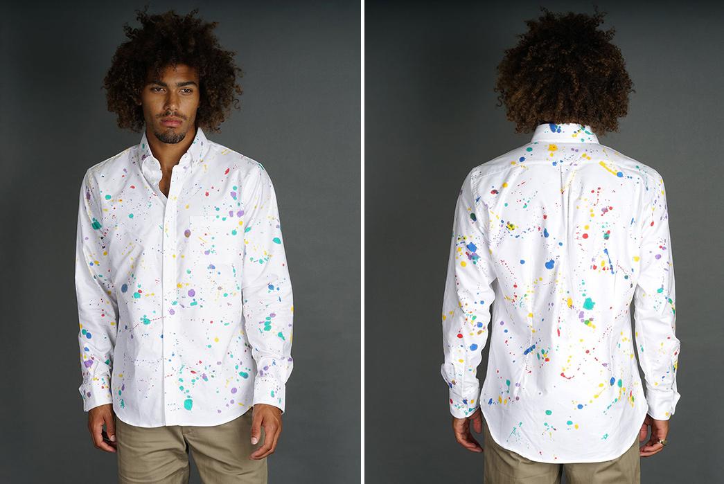 Epaulet-and-Gitman-Go-All-Jackson-Pollack-on-an-Oxford-Shirt-model-front-back