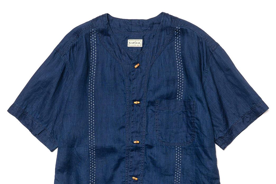 Kapital-IDG-Linen-Wabash-Dye-Print-Baseball-Shirt-03