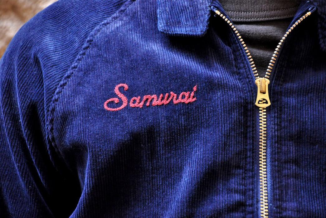 Samurai's-Indigo-Corduroy-Sport-Jacket-model-front-detailed-zipper