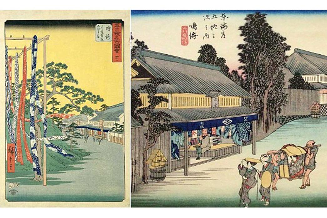Shibori---Indigo-Tie-Dye-via-Ancient-Japan-Hiroshige-Blockprints-of-Arimatsu-Shibori-via-Oh-My-Handmade
