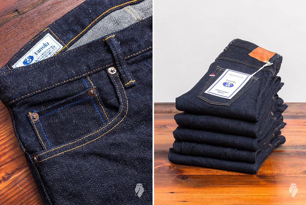Tanuki-NSXT-SEN-16.5oz.-Natural-Indigo-Stretch-Selvedge-Denim-front-right-pocket-and-tower-of-folded-jeans