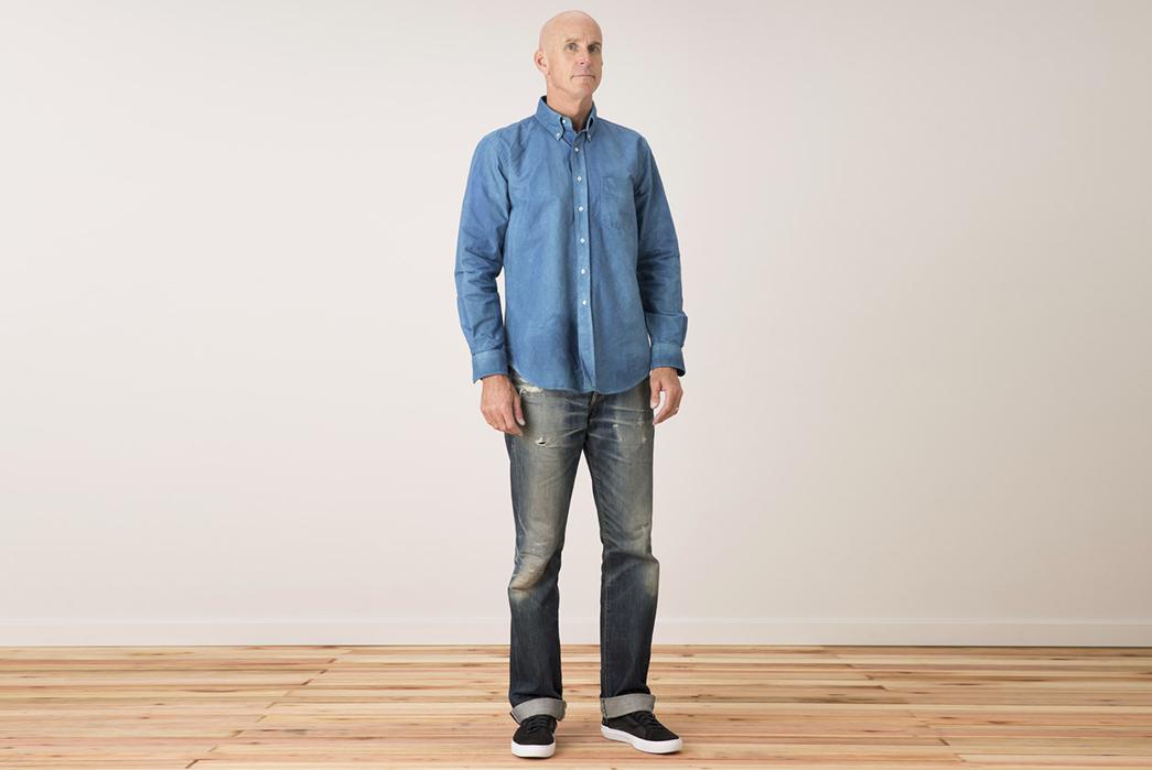 Tellason-Natural-Indigo-Dyed-Oxford-Button-Down-Shirt-model-front