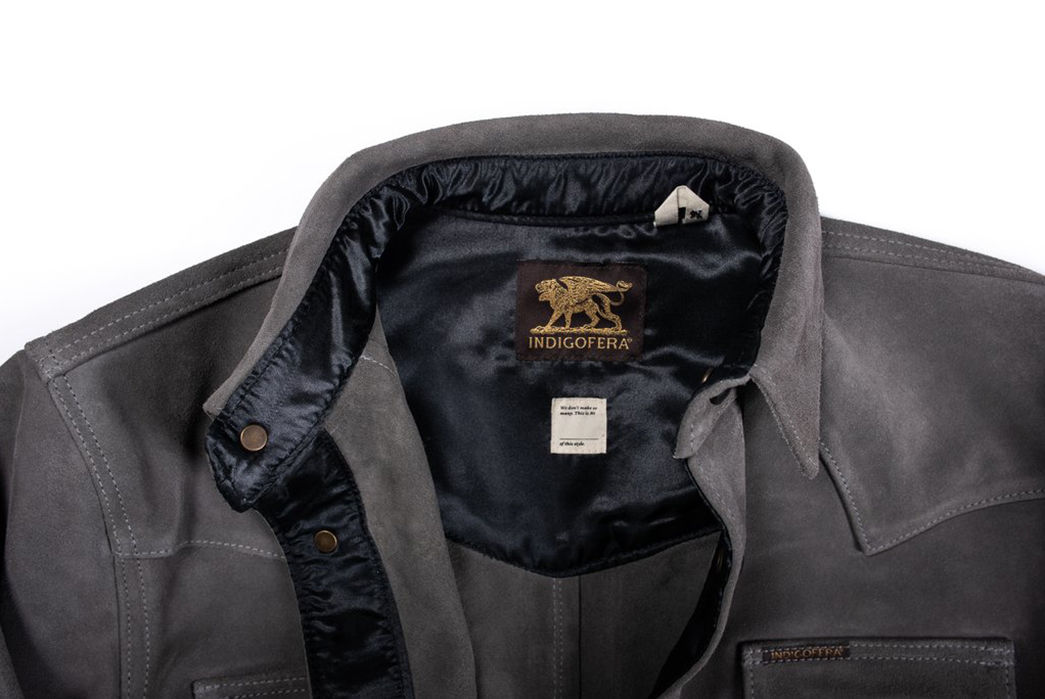 Be-Suede-by-Indigofera's-Leather-Western-Shirt-front-collar
