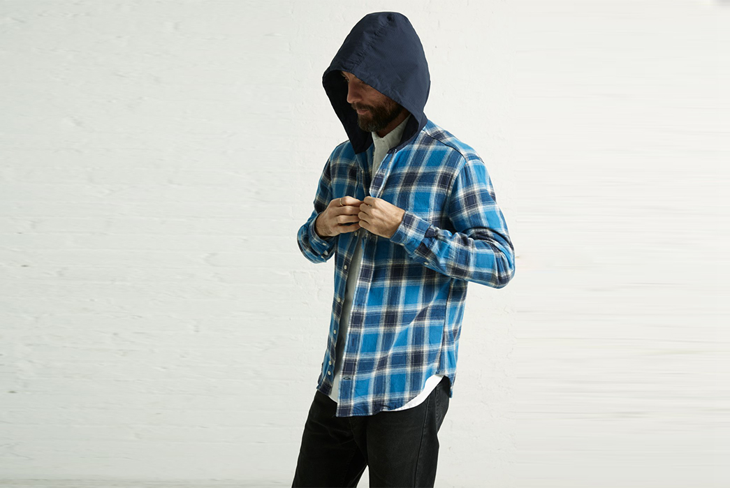 Gitman-Celebrates-40-Years-of-Shirts-front-standing-in-blue-with-hood