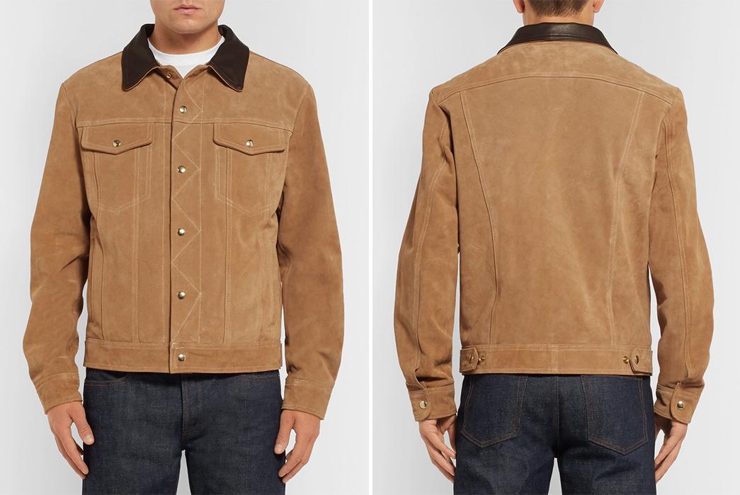 Golden-Bear-The-Holden-Leather-Trimmed-Suede-Trucker-Jacket-model-front-back