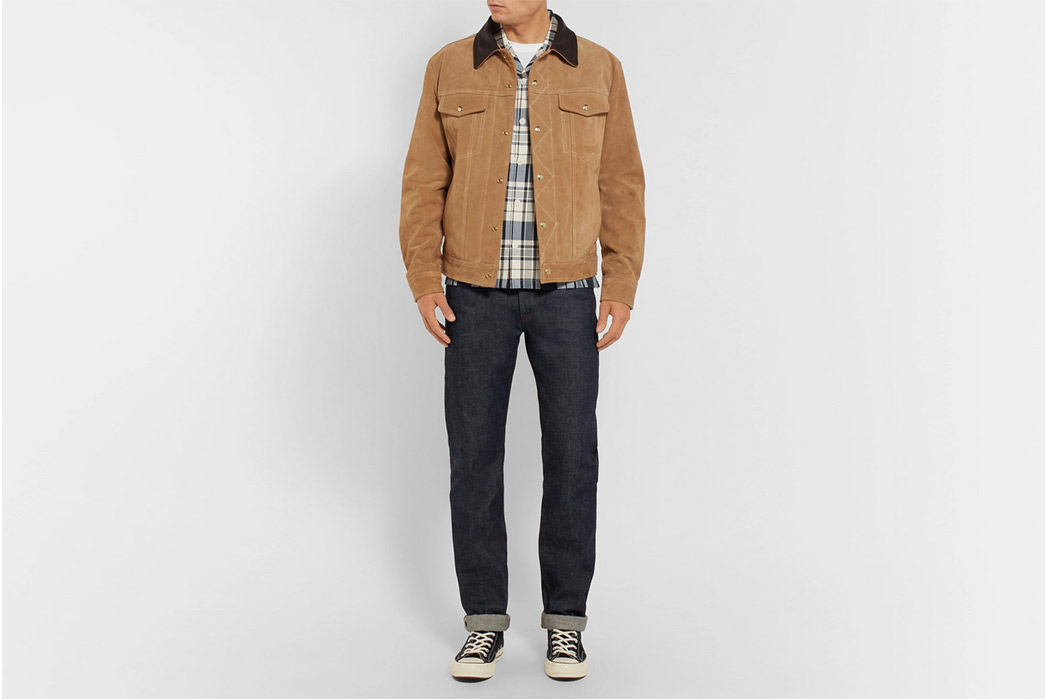 Golden-Bear-The-Holden-Leather-Trimmed-Suede-Trucker-Jacket-model-front