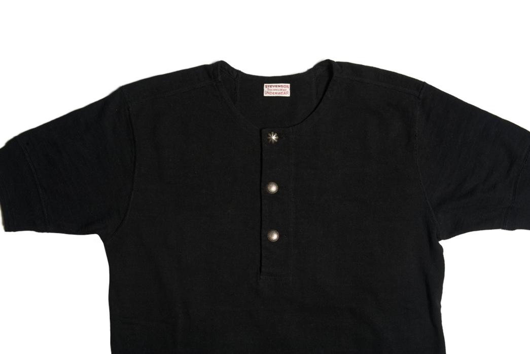 Stevenson-Overall-Co.-x-LEON-Magazine-Short-Sleeve-Henleys-black-front-detailed