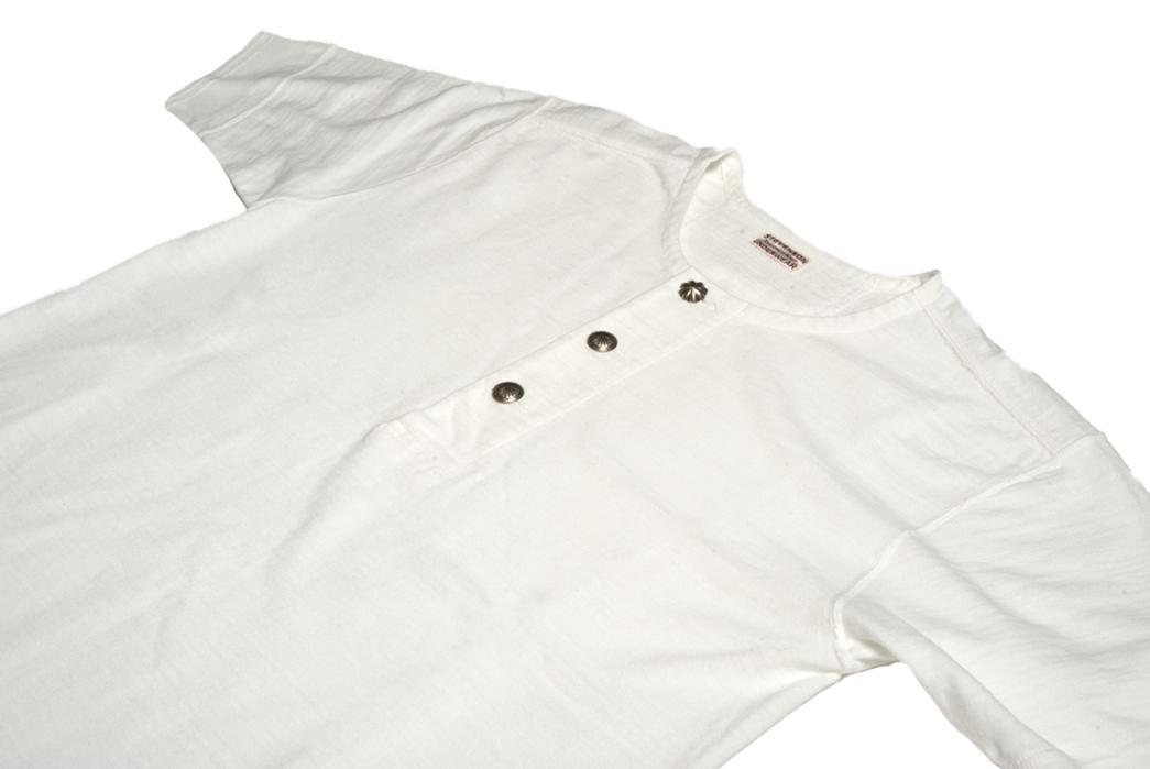 Stevenson-Overall-Co.-x-LEON-Magazine-Short-Sleeve-Henleys-white-front-angle