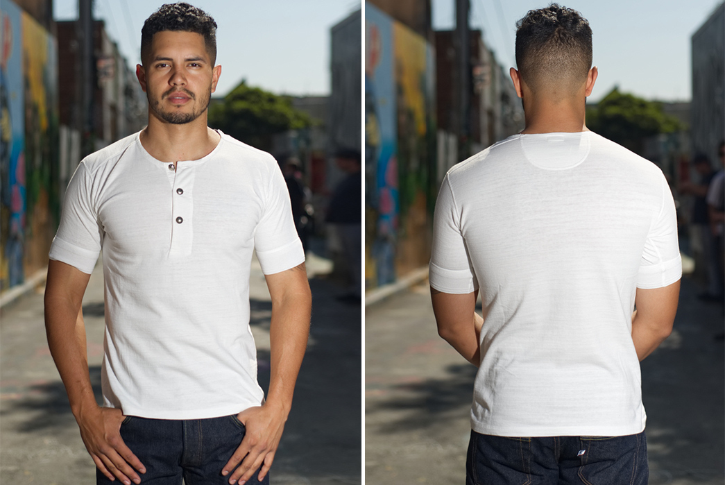Stevenson-Overall-Co.-x-LEON-Magazine-Short-Sleeve-Henleys-white-model-front-and-back