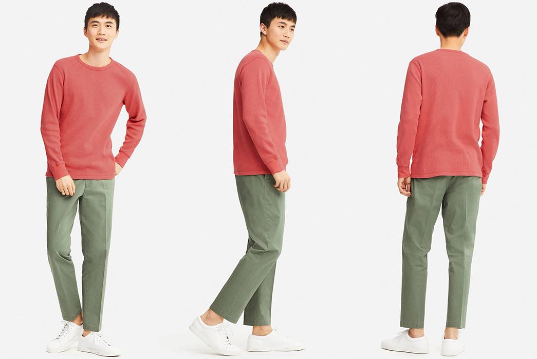 Crewneck-Waffle-Tees---Five-Plus-One-2)-Uniqlo-Waffle-Crewneck-Long-Sleeve-T-Shirt