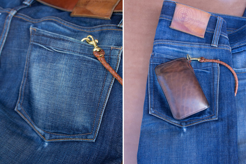 Fade-of-the-Day---Oneculture-Pulsar-Slim-Taper-(21-Months,-4-Washes)-back-right-pocket-with-wallet