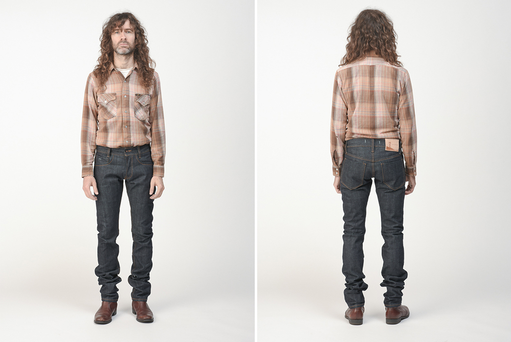 Oneculture-Pulsar-Slim-Taper-Raw-Denim-Jeans-model-front-back