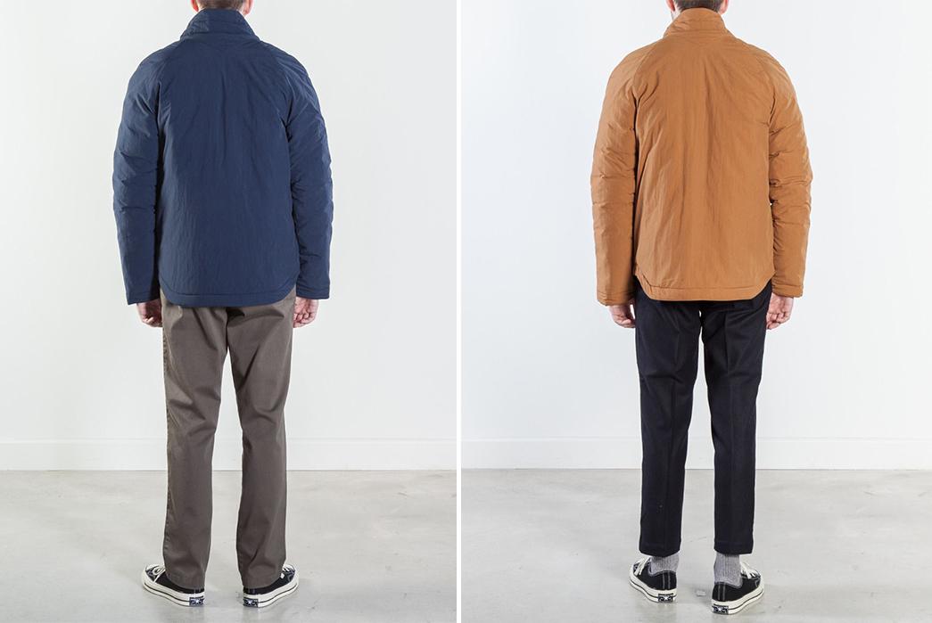 YMC-Stuffs-Goose-Down-Into-a-Kimono-model-back-blue-and-brown
