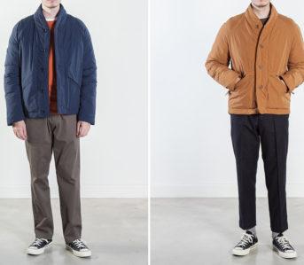 YMC-Stuffs-Goose-Down-Into-a-Kimono-model-front-blue-and-brown