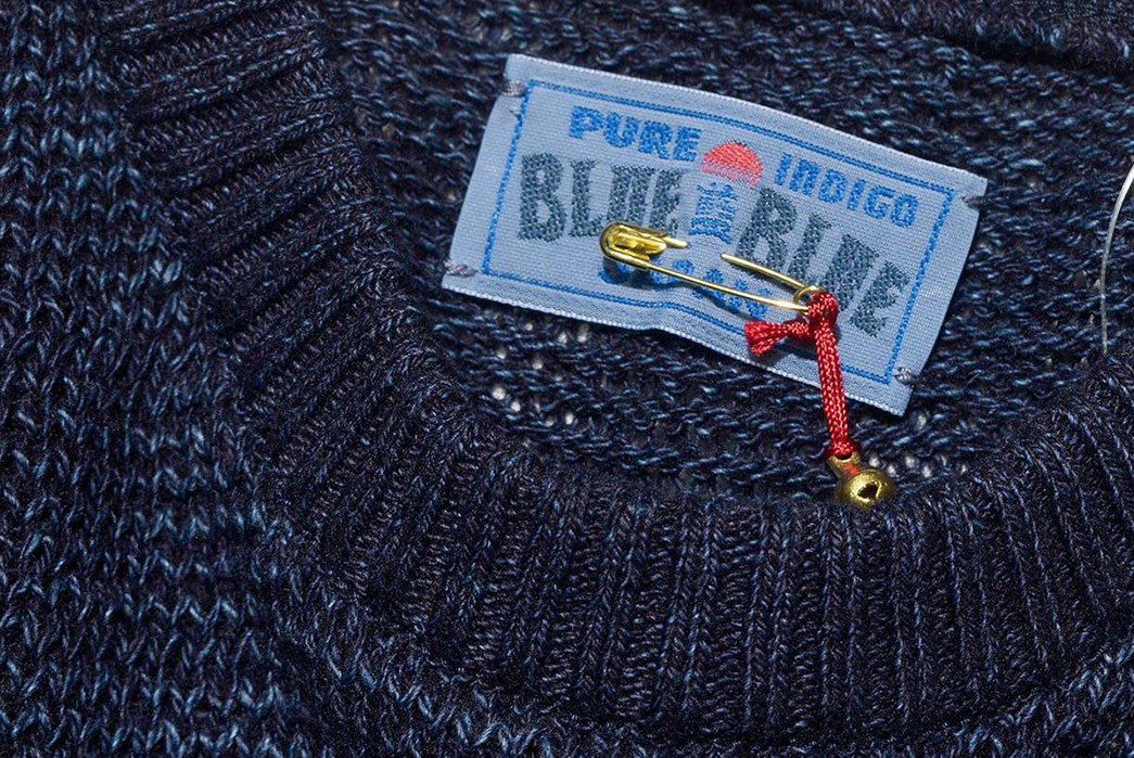 Blue-Blue-Japan-ersey-Drop-Long-Tail-Loose-Knit-Sweater-front-top-collar-and-inside-brand