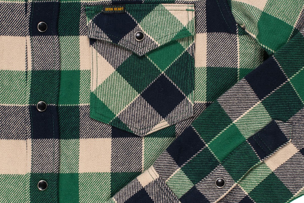 Fall-is-Back-and-so-are-Iron-Heart's-Ultra-Heavy-Flannels-front-sleeve-and-pocket-green