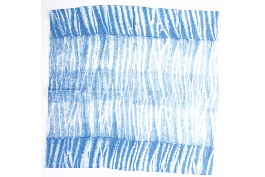 Jolie-Bird-x-NAQP-One-of-a-Kind-Shibori-Bandanas-white-lines-on-blue