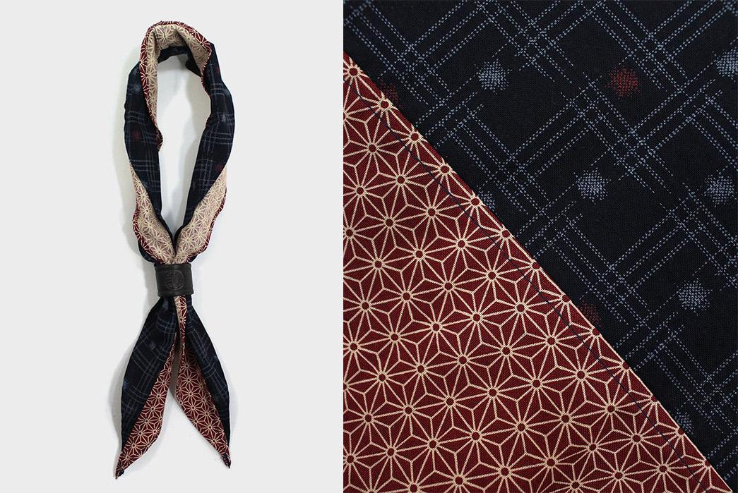 Kiriko-Split-Neckerchiefs-indigo-kasuri-and-red-asanoha-tied-and-detailed