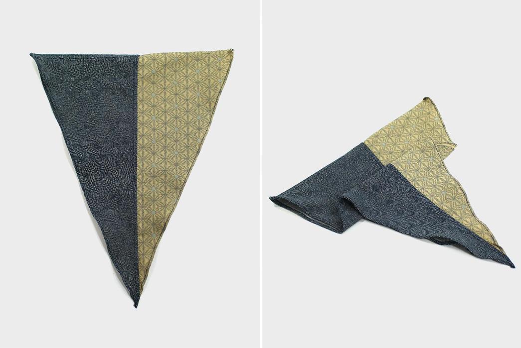 Kiriko-Split-Neckerchiefs-yellow-kasuri-asanoha-and-blue-same-shark-komon-folded