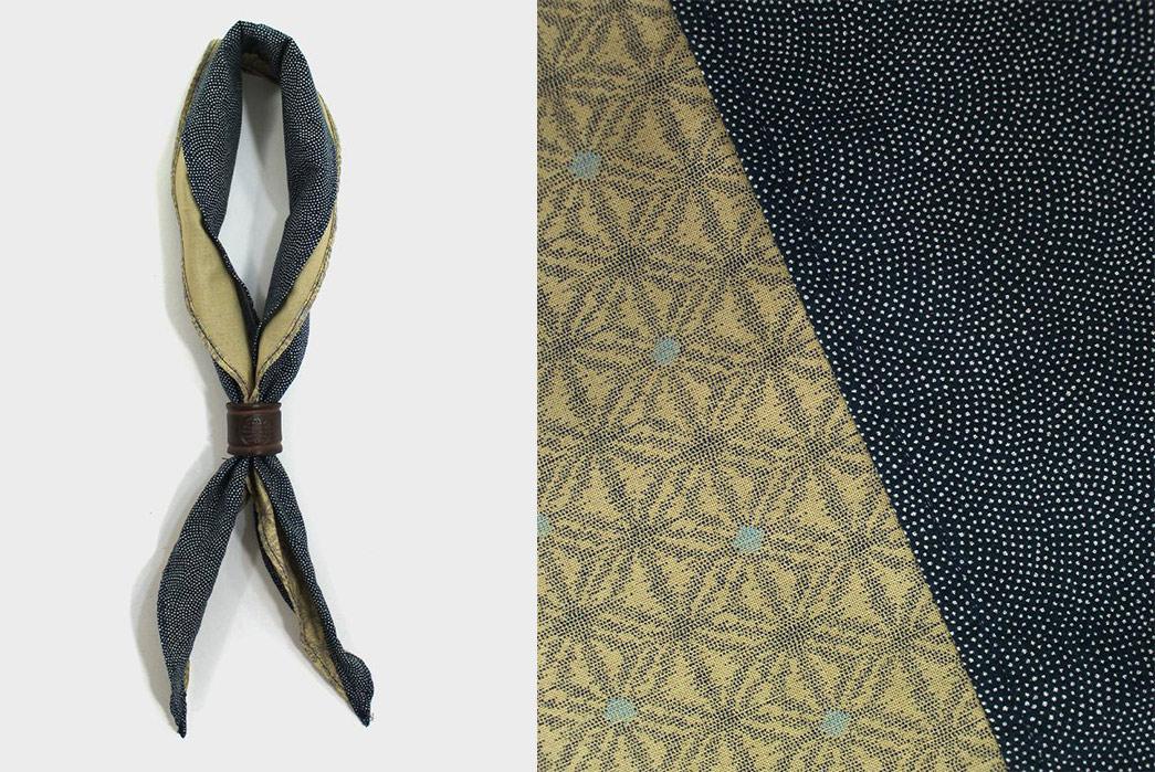 Kiriko-Split-Neckerchiefs-yellow-kasuri-asanoha-and-blue-same-shark-komon-tied-and-detailed