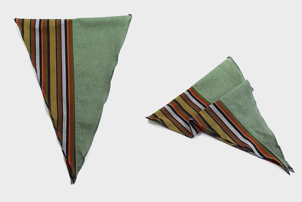 Kiriko-Split-Neckerchiefs-yellow-shima-and-green-shibori-folded