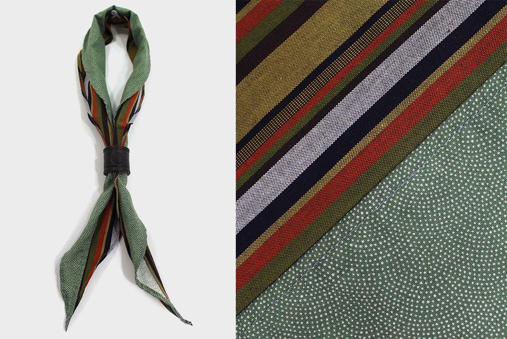 Kiriko-Split-Neckerchiefs-yellow-shima-and-green-shibori-tied-and-detailed
