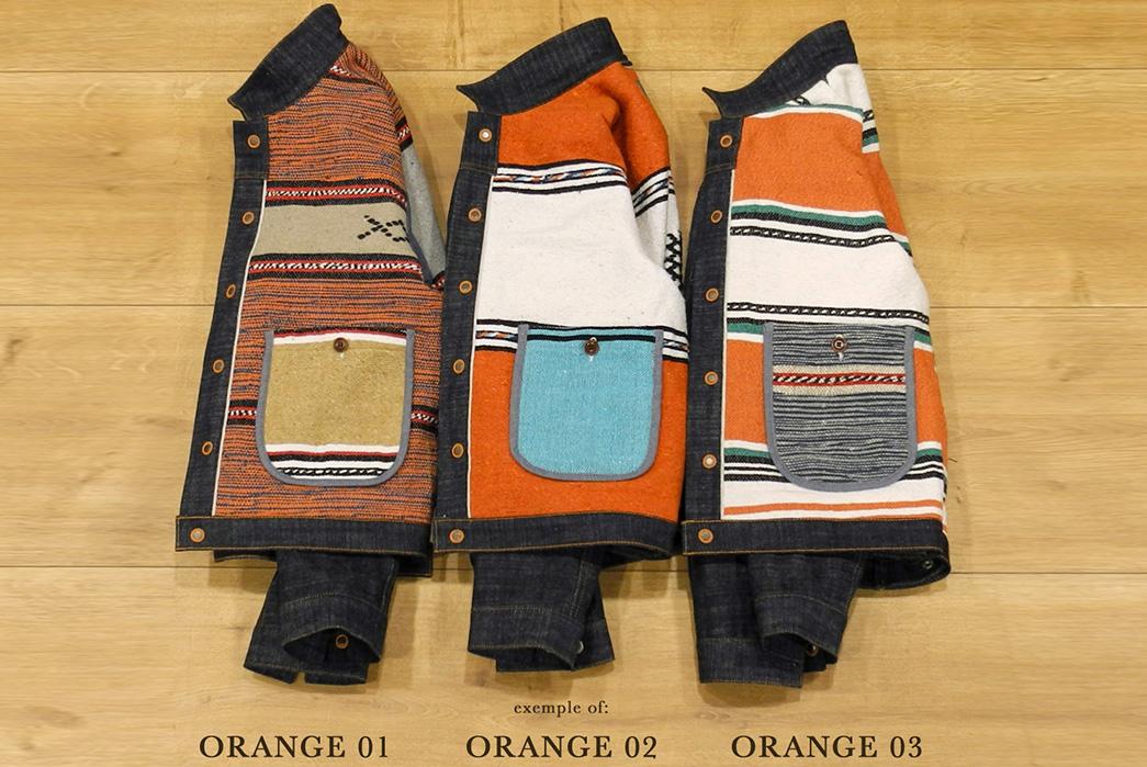Traditional-Wool-Moroccan-Blankets-Line-Companion's-Newest-Trucker-Jacket-orange-1-3