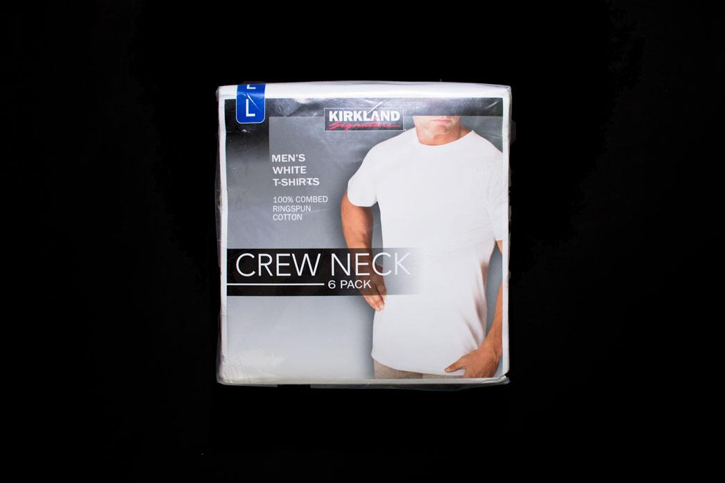 6 Packs KIRKLAND SIGNATURE Mens Crew Neck White T-Shirt 4 Sizes