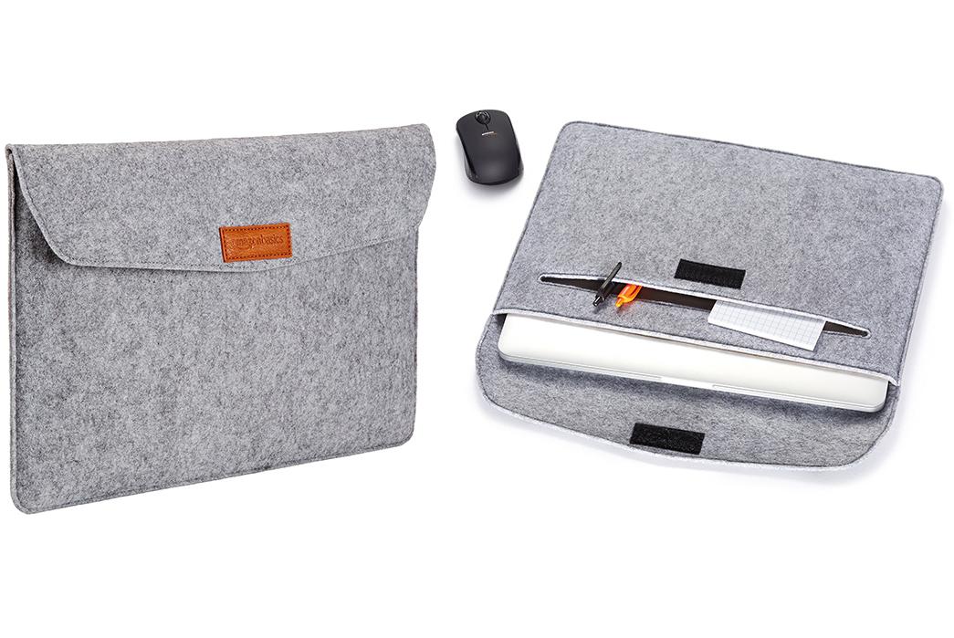 Laptop-Sleeves---Five-Plus-One 1)AmazonBasics: 15.4 Inch Felt Laptop Sleeve - Light Grey