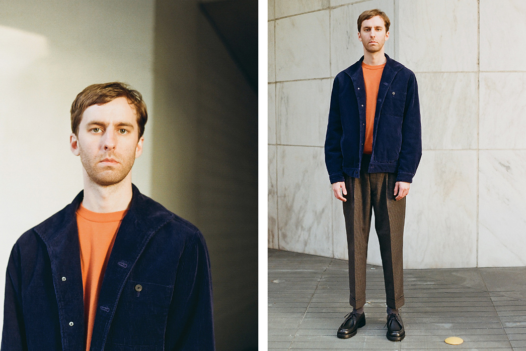Namu-Shop-Shows-Off-Rare-Labels-in-Their-FW18-Editorial-male-model-blue-jacket