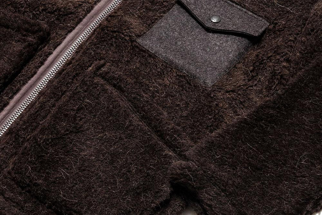 Nigel-Cabourn-40s-Wool-Alpaca-Pile-Jacket-front-sleeve-zipper-and-pockets