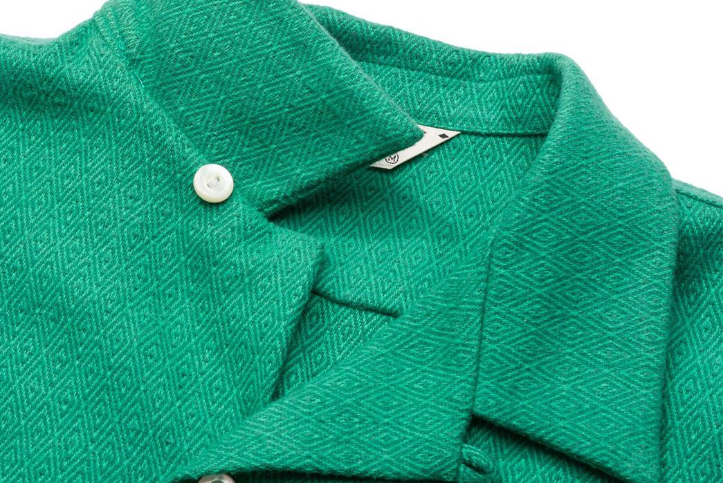 Calee-Open-Collar-Shirts-green-front-collar-2