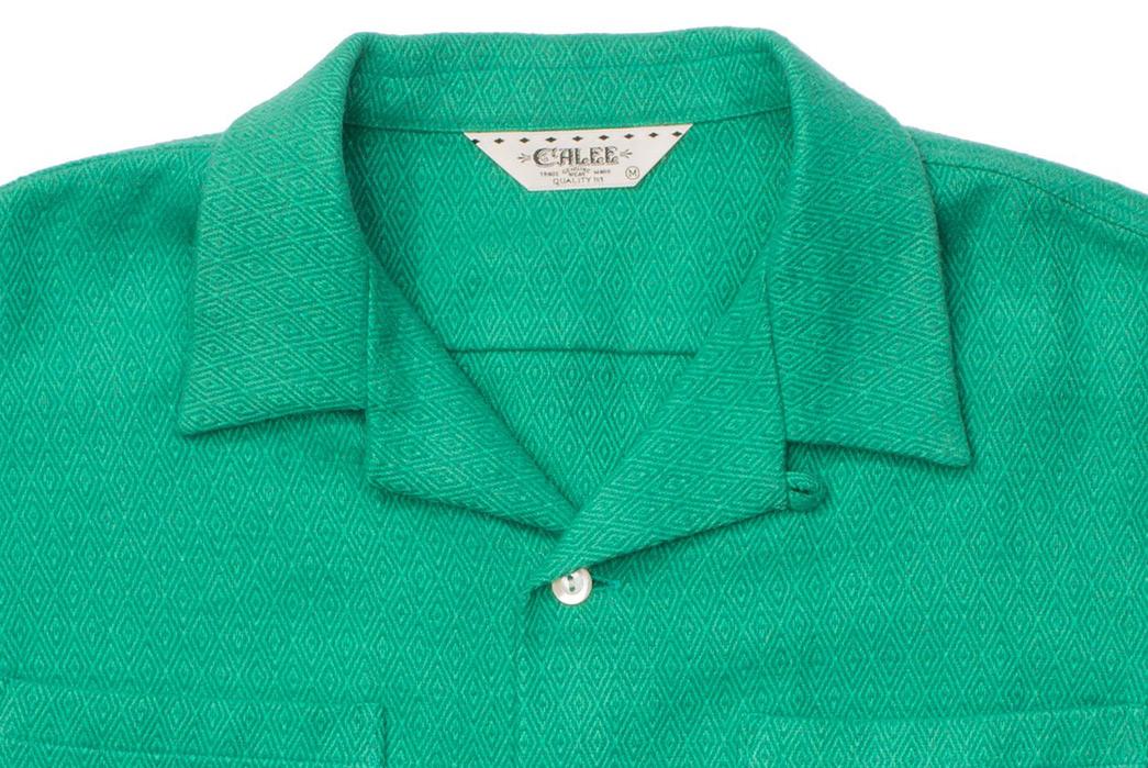 Calee-Open-Collar-Shirts-green-front-collar