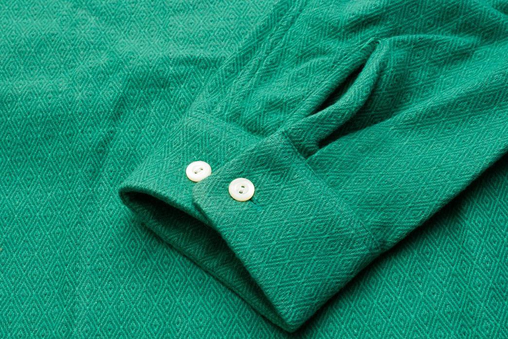 Calee-Open-Collar-Shirts-green-sleeve