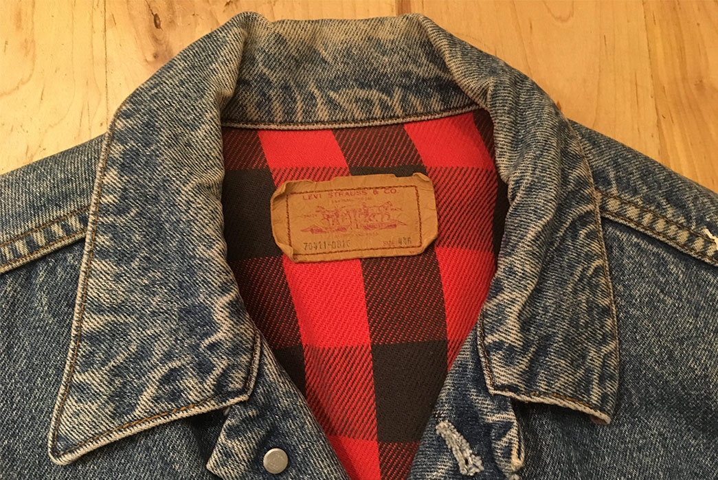 Fade-of-the-Day---Levi's-Flannel-Lined-Jacket-(~30-Years,-Unknown-Washes)-front-collar