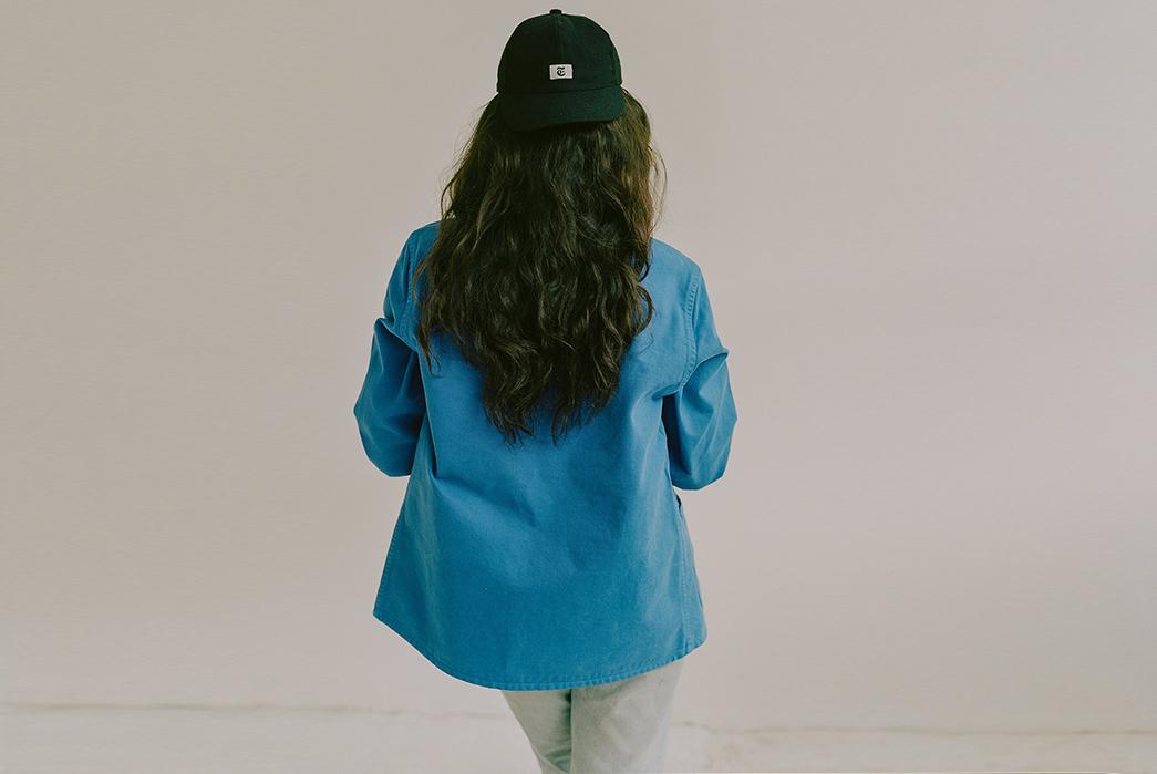 Knickerbocker-for-The-New-York-Times-female-model-back-blue-jacket
