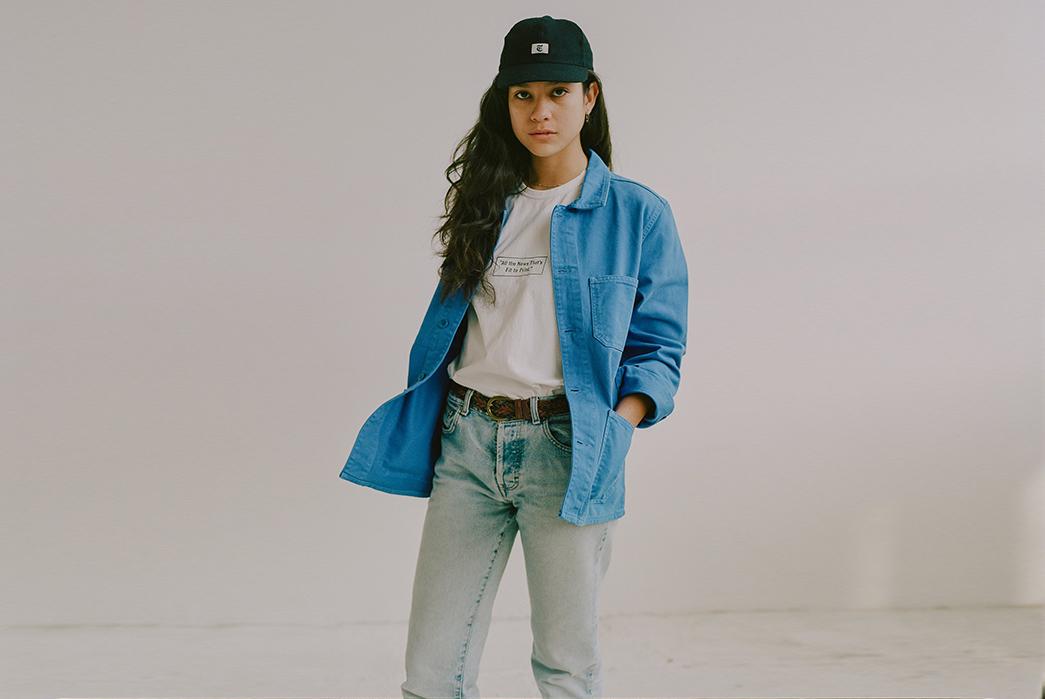 Knickerbocker-for-The-New-York-Times-female-model-front-blue-jacket