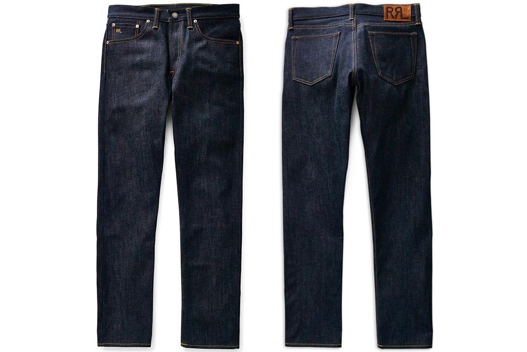 RRL-Slim-Narrow-Raw-Denim-Jeans-front-back