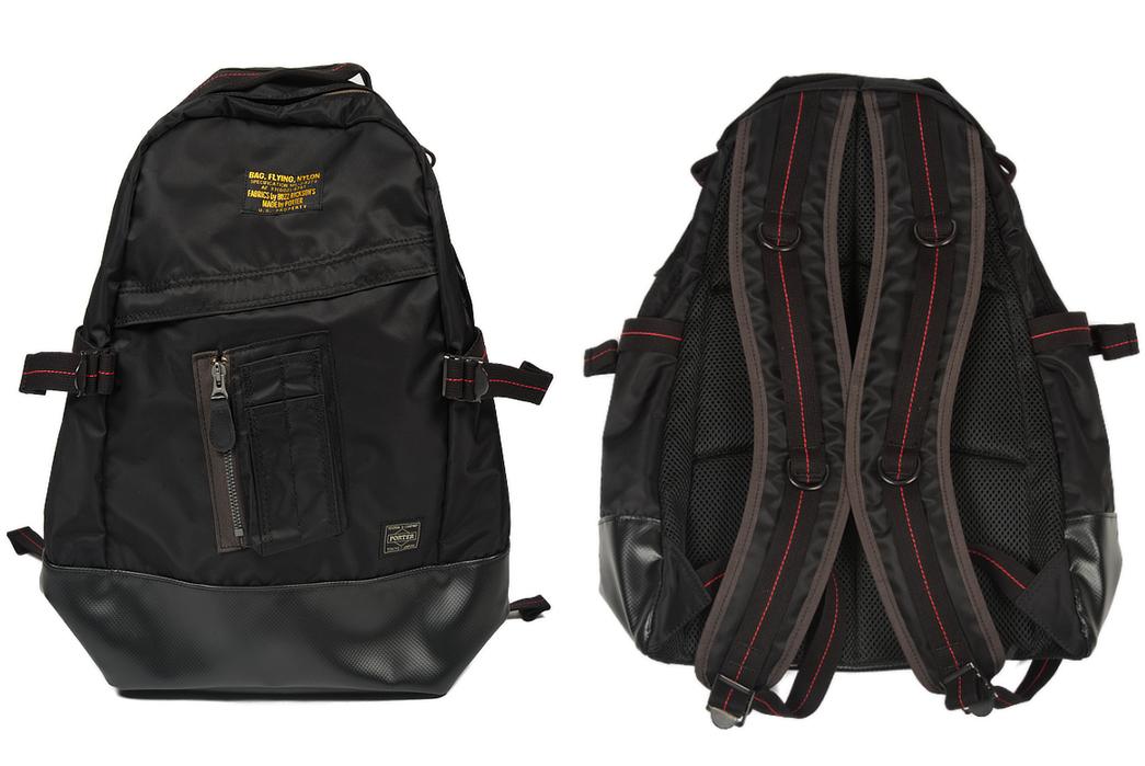 Buzz-Rickson-x-Porter-Backpack-black-front-back
