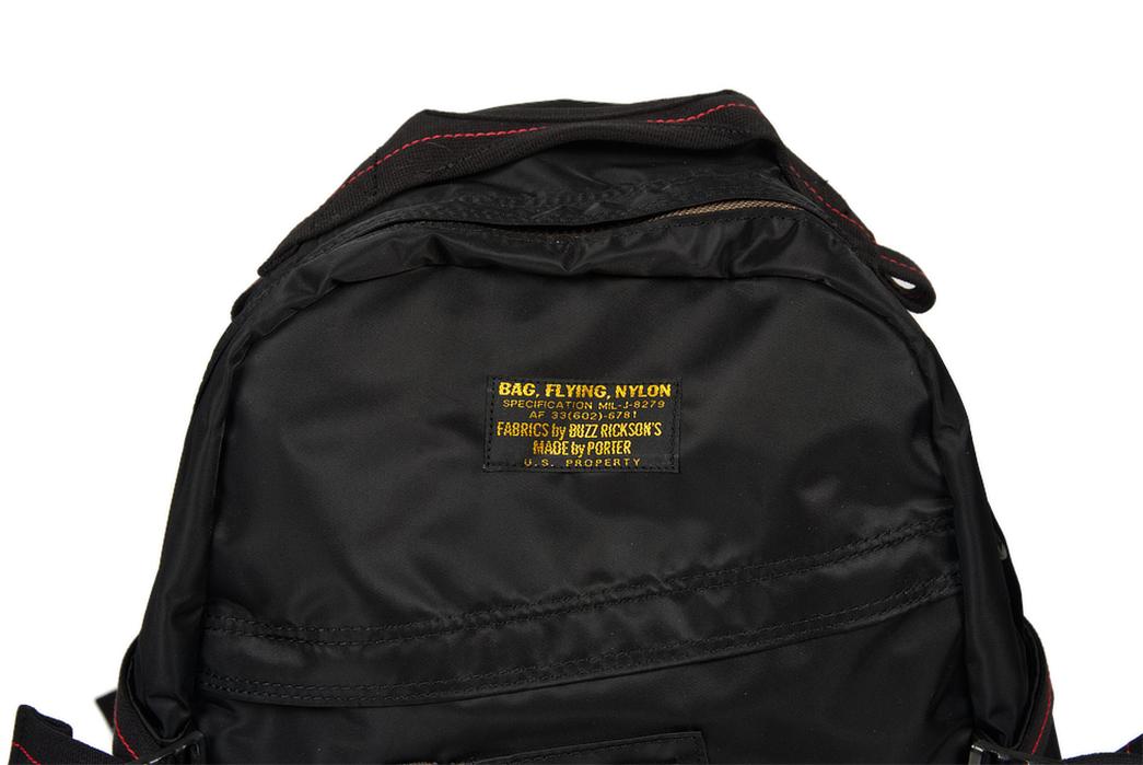 Buzz-Rickson-x-Porter-Backpack-black-front-top