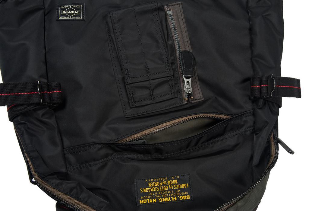 Buzz-Rickson-x-Porter-Backpack-black-pocket-open