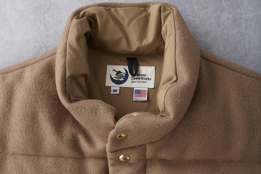 Crescent-Down-Works-Pendleton-Melton-Wool-Italian-Vest-front-collar