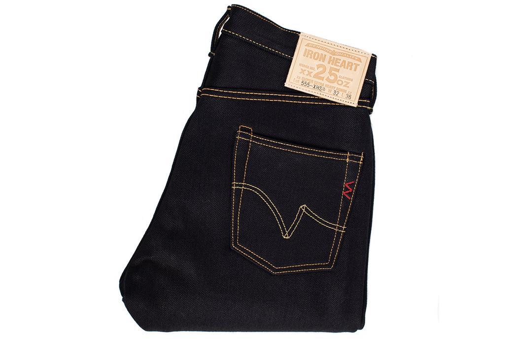 Iron-Heart-25oz.-Indigo-Black-Selvedge-Denim-IH-555-XHSib-folded