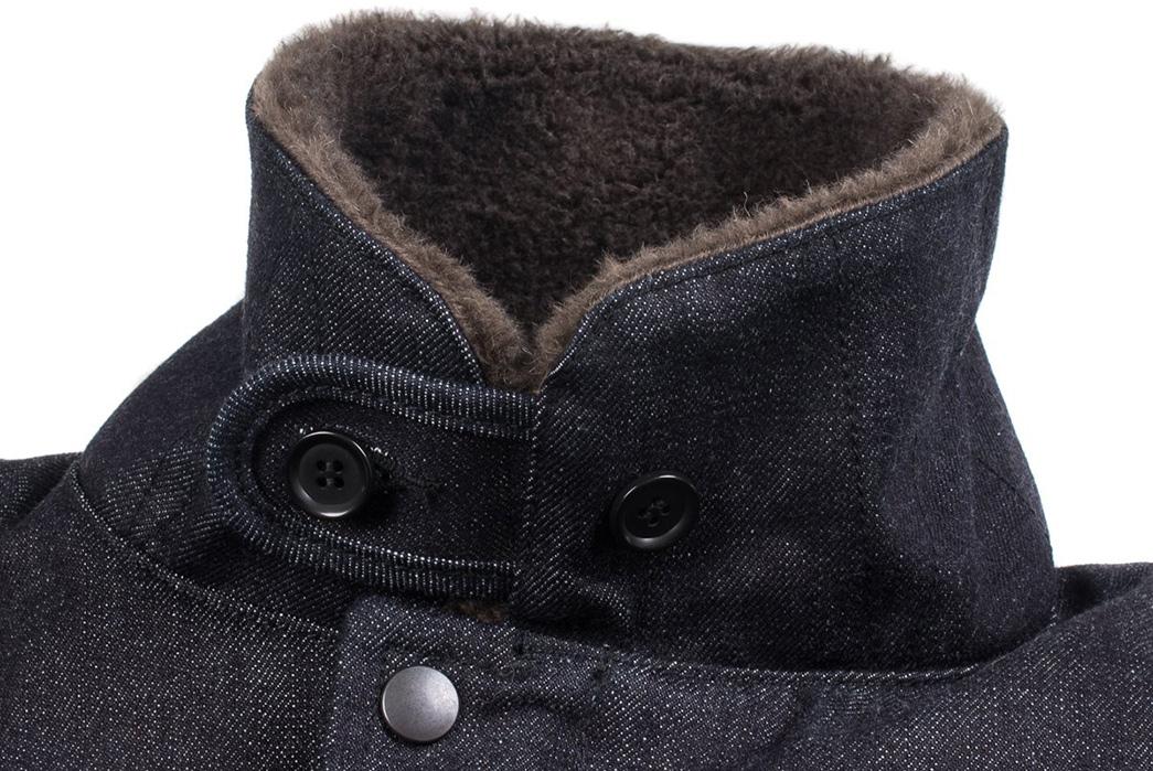 Iron-Heart-Alpaca-Lined-14oz.-Selvedge-Denim-B-2-Type-Jacket-front-collar-up