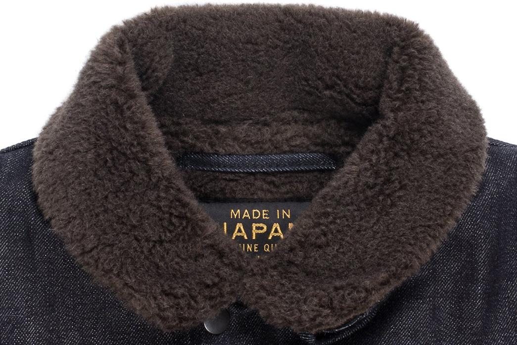 Iron-Heart-Alpaca-Lined-14oz.-Selvedge-Denim-B-2-Type-Jacket-front-collar