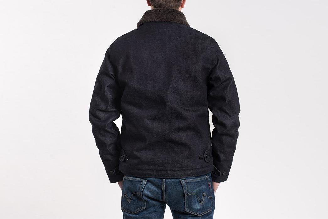 Iron-Heart-Alpaca-Lined-14oz.-Selvedge-Denim-B-2-Type-Jacket-model-back